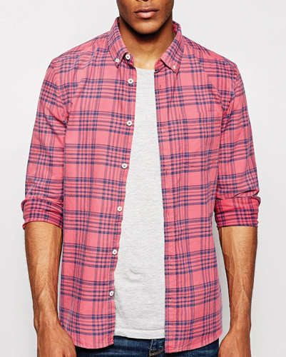 Pink and Blue Duotone Checked Shirt