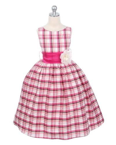 Pink Flannel Check Dress For Kids