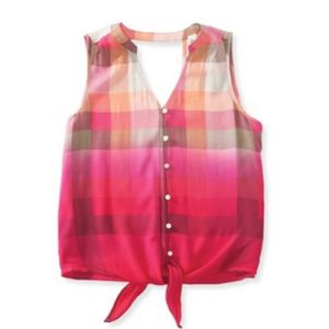 Pink Self Tie Flannel Crop Top