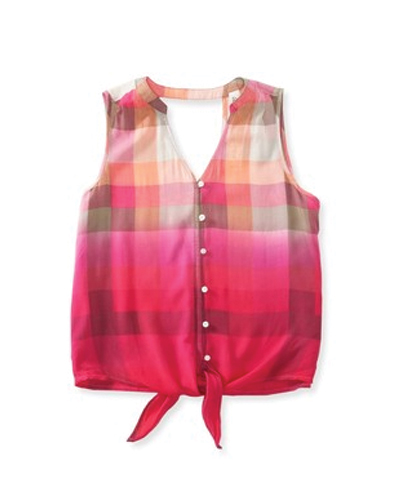 Pink Self Tie Flannel Crop Top