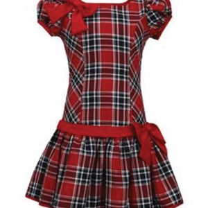 Pretty Bow Band Flannel Check Dress