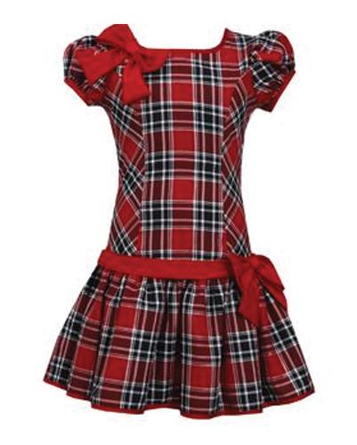 Pretty Bow Band Flannel Check Dress