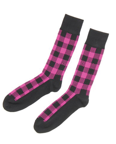 Prism Pink and Black Check Socks