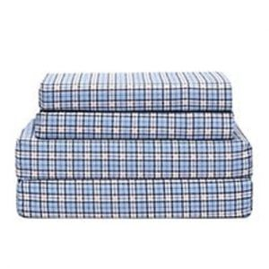 Pristine Sky Mini Checks Flannel Bed Sheet