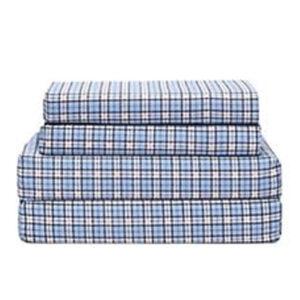 Pristine Sky Mini Checks Flannel Bed Sheet