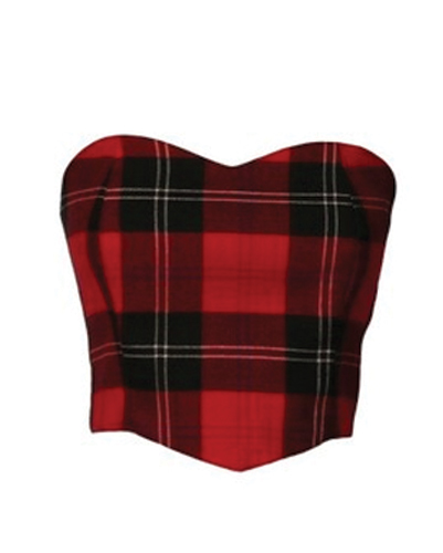 Pure Love Red Flannel Crop Top