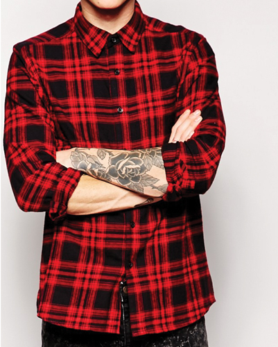 Red and Black Airbrush Checked Shirt