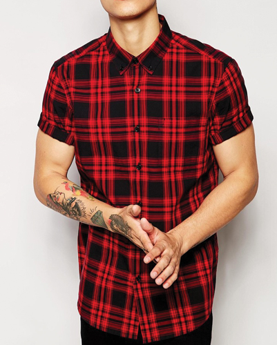 Red and Black Flannel Checked Shirt