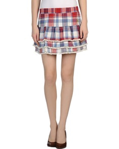 Red and Blue Check Flannel Skirt