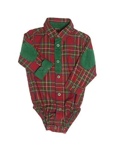 Red And Green Patchwork Flannel Bodysuit