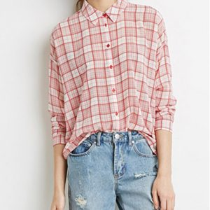 Red Baggy Plaid Flannel Shirt