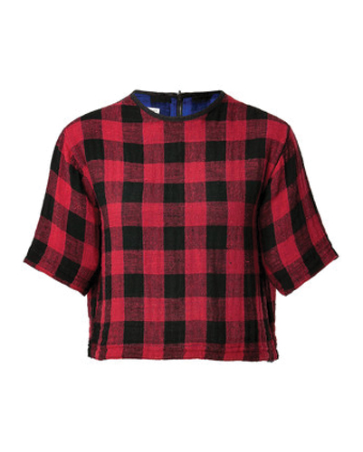 Red Believe Boxy Flannel Crop Top