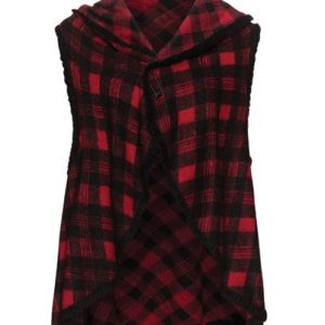 Wholesale Red Black Checked Cape Vest For Women Supplier