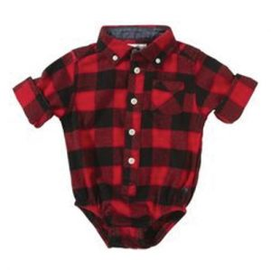 Red & Black Checked Diaper Shirt