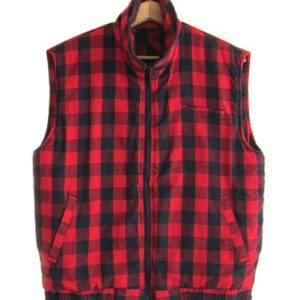 Red Black Checked Sleeveless Vest