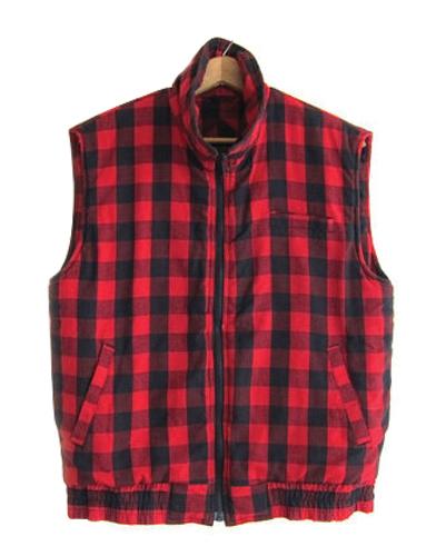 Red Black Checked Sleeveless Vest