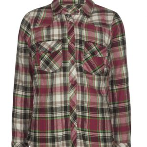 Red-Black Girls' Flannel Shirt