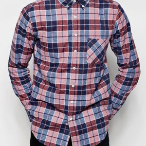 Red, Blue and Beige Checked Flannel Shirt