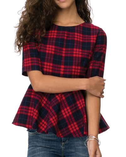 Red Checked Peplum Top
