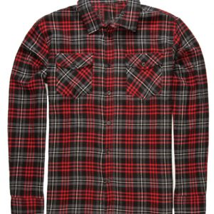Red on Brown Flannel Shirt