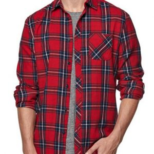 Red Plaid Cotton Flannel Shirt