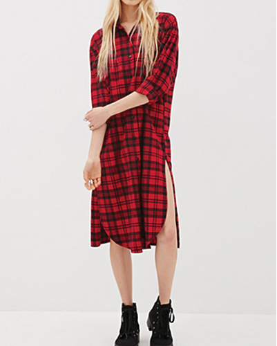 Red Slit Flannel Dress