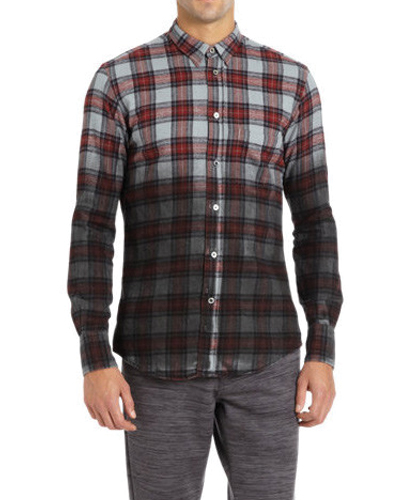 Red Wet Look Checked Shirt