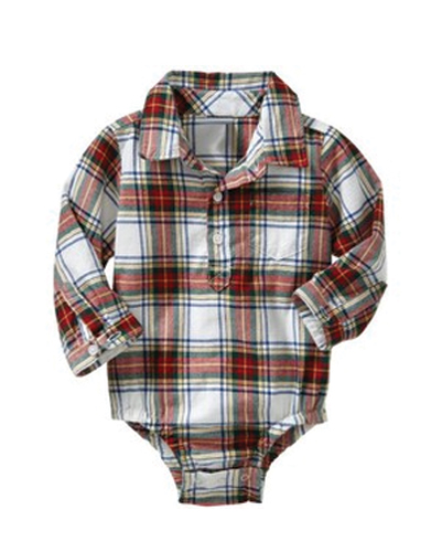 Red & White Checked Diaper Shirt