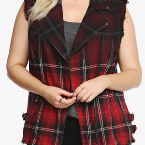 Ripped Sleeveless Flannel Vest for Women