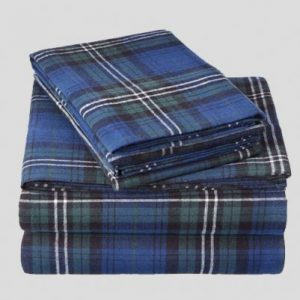 Royal Blue Plaid Flannel Bed Sheet