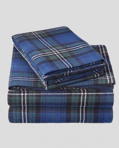 Royal Blue Plaid Flannel Bed Sheet