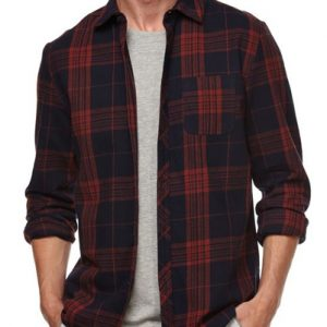 Rusty Orange Black Flannel Shirt