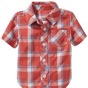 Rusty Orange Checks Baby Shirt