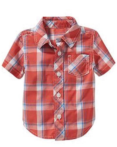 Rusty Orange Checks Baby Shirt