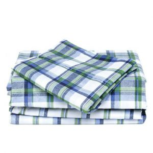 Sea Algae Madras Checked Flannel Bed Sheet
