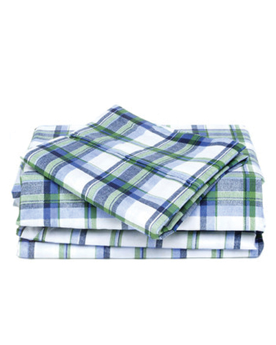 Sea Algae Madras Checked Flannel Bed Sheet