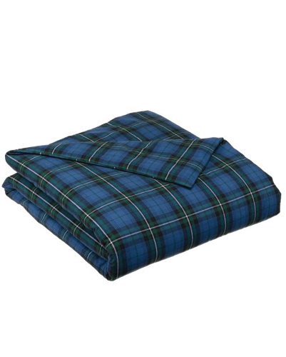 Sea Blue and Olive Checked Flannel Bed Sheet