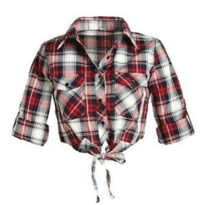 Self Tie Flannel Crop Top