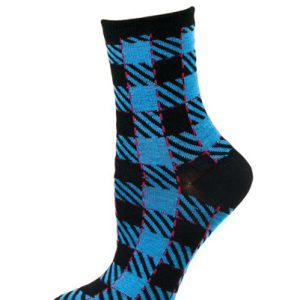 Shocking Blue and Black Check Socks