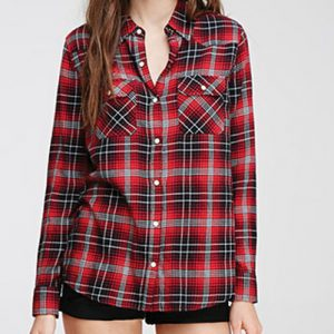 Silver Tinge Red Checked Flannel Shirt