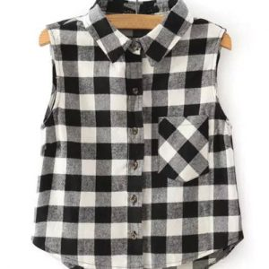 Sleeveless Classic Flannel Crop Top