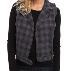 Smokey Grey Biker Cut Flannel Jacket