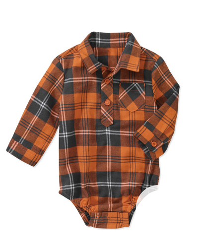 Sober Brown Checked Diaper Shirt