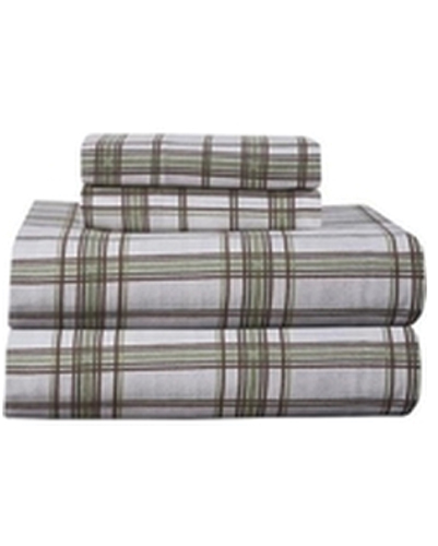 Soothing Amber Plaid Checked Flannel Bed Sheet