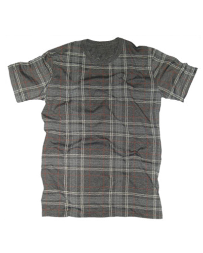 Steel Grey and White Designer Flannel Tee