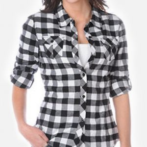 Structured Black Ladies Shirt in Bold Checks
