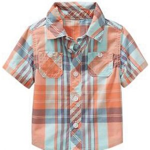 Sunny Orange Checks Baby Shirt