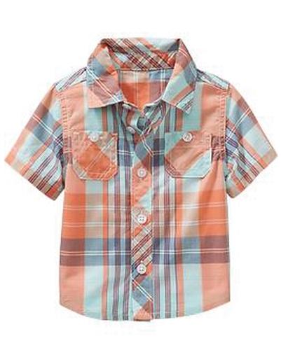 Sunny Orange Checks Baby Shirt