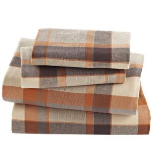 Sunset Orange Checked Flannel Bed Sheet