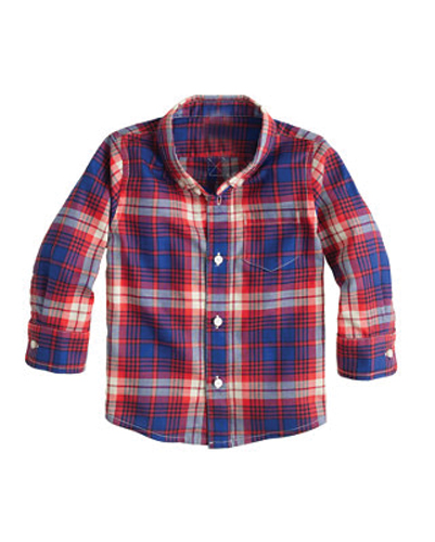 Super Blue Checked Baby Shirt